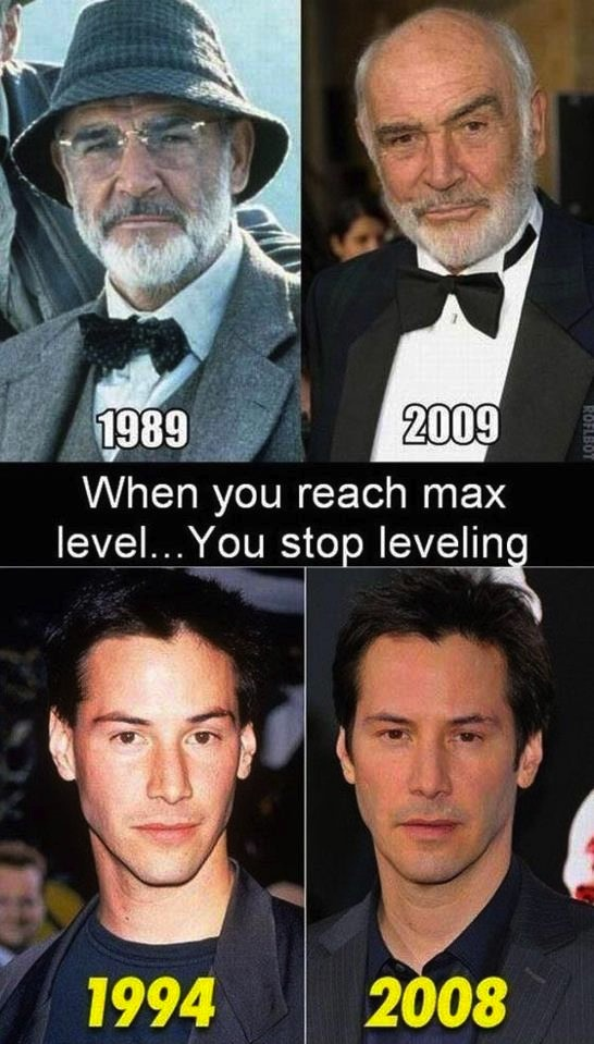 Once you reach max level, you stop leveling. Keanu and Connery.