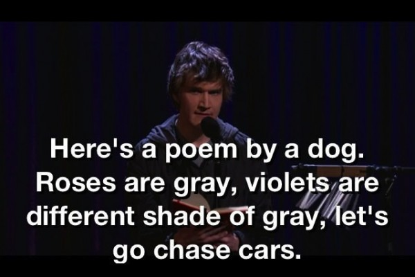 "Bo Burnham says, ""Here's a poem by a dog. Roses are gray, violets are a different shade of gray, let's go chase cars."""