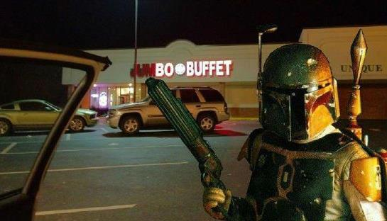 Boba Fett is standing in front of Bo Buffet.