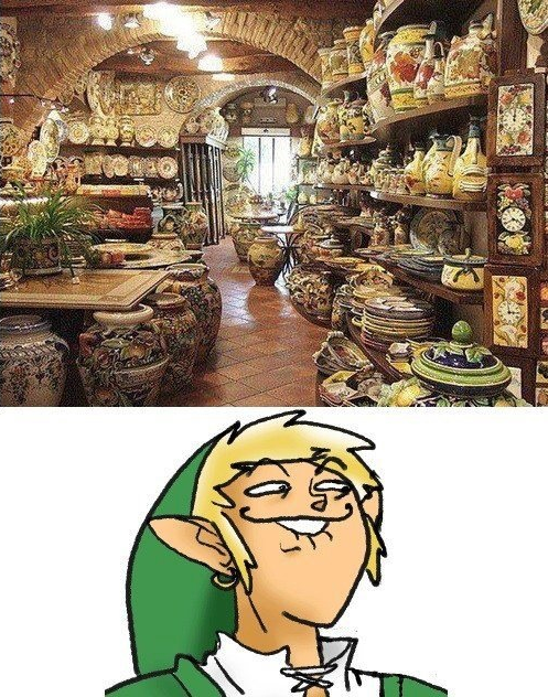 It's a pottery store filled with pots. Link looks very excited.