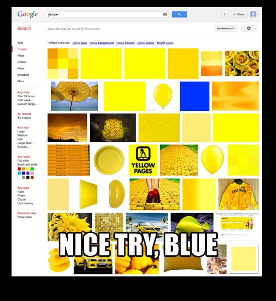 "Google for ""yellow,"" picture of blue comes up. ""Nice try blue."""