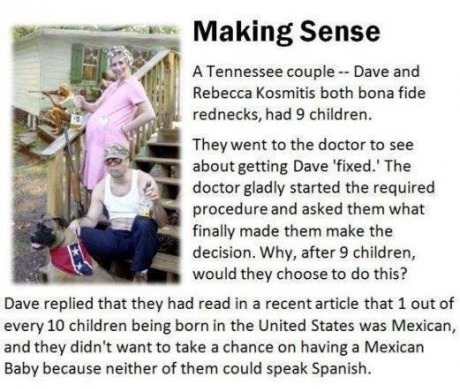 "Making Sense. A Tennessee couple, Dave and Rebecca Kosmitis, both bona fide rednecks, had 9 children. They went to the doctor to see about getting Dave ""fixed."" The doctor gladly started the required procedure and asked them what finally made them make the decision. Why, after 9 children, would they choose to do this? Dave replied that they had read in a recent article that 1 out of every 10 children being born in the United States was Mexican, and they didn't want to take a chance on having a Mexican baby, because neither one of them could speak Spanish."