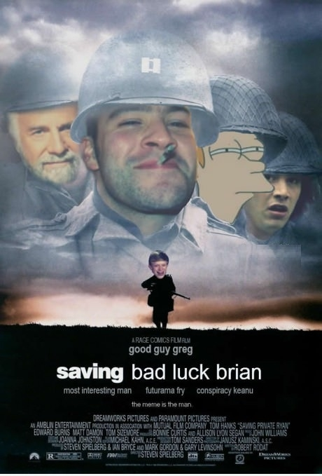 Saving Bad Luck Brian. A Rage Comics Film. Featuring Good Guy Greg, Most Interesting Man, Futurama Fry, and Conspiracy Keanu. The meme is the man.
