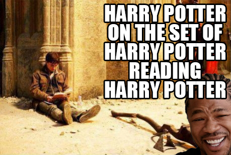 Yo dawg, I heard you like Harry Potter so I put Harry Potter on the set of Harry Potter reading Harry Potter.