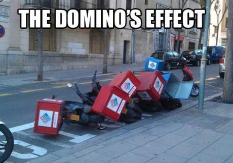 The Domino's Effect: Domino's pizza delivery bikes all knocked over.