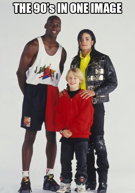 The 90's in one image. Michael Jordan, Michael Jackson, and Macaulay Culkin.