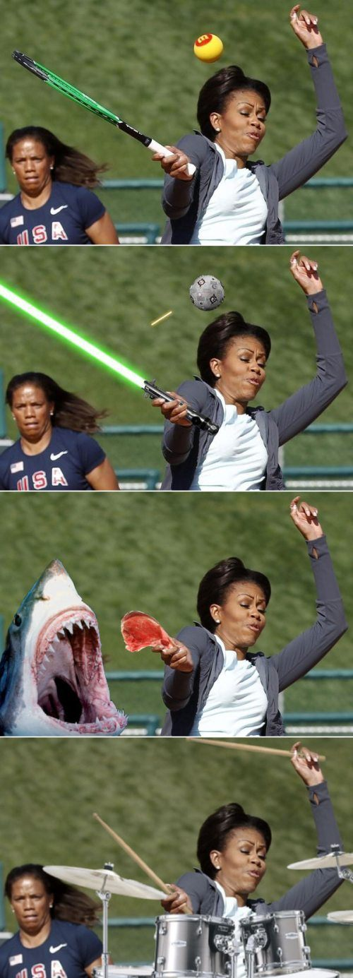 Michelle Obama plays tennis, uses the force, feeds a shark, and plays the drums.