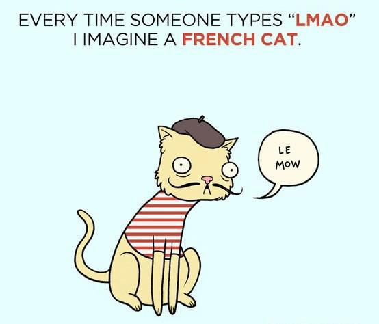 "Every time someone types ""LMAO"" I imagine a French cat saying ""Le maow."""