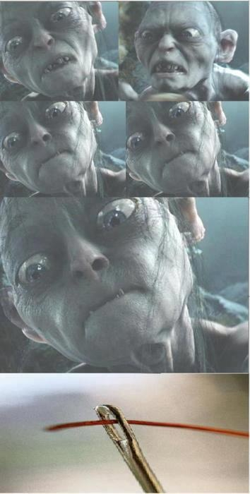 Smeagol (Gollum) tries really really really really hard to put thread trough a needle eye.