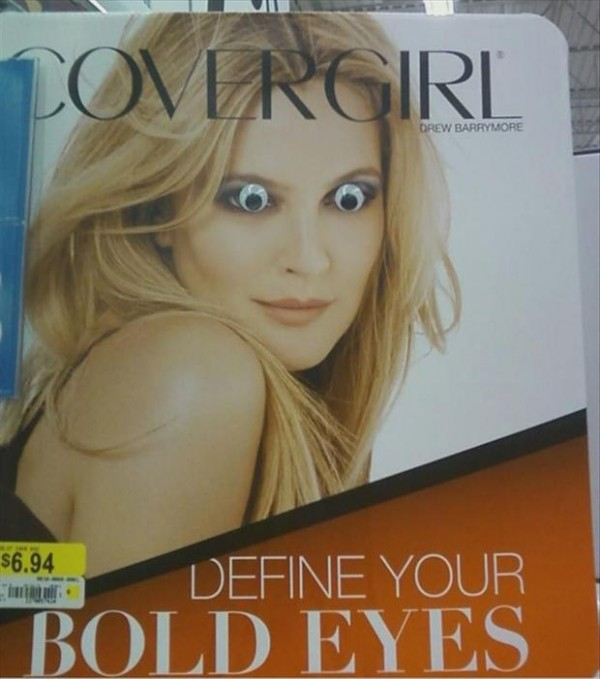 CoverGirl Drew Barrymore has fierce googley eyes.