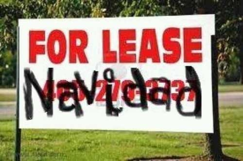 "Sign reads: ""For Lease Navidad"""