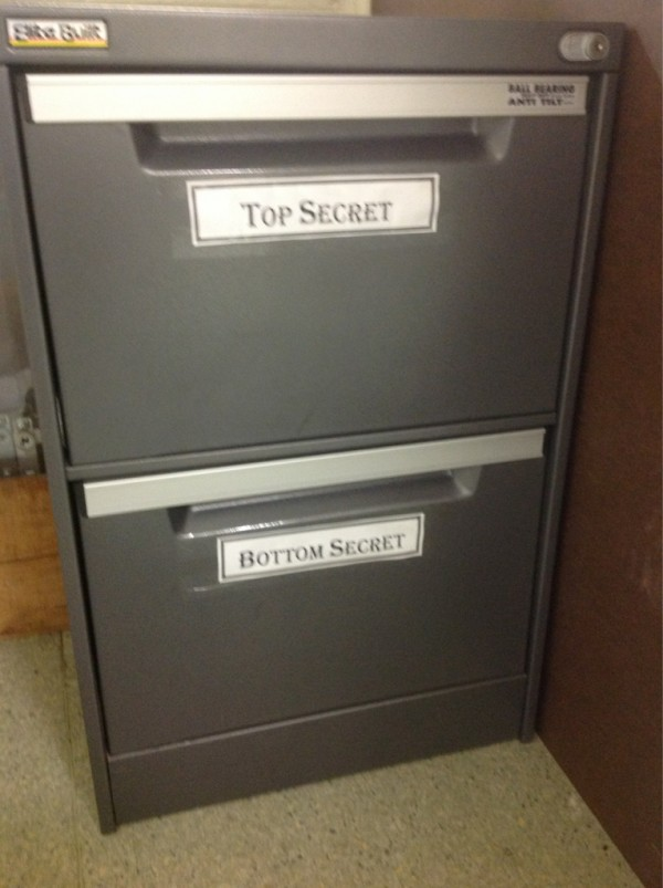 Two filing cabinet shelves: Top Secret and Bottom Secret