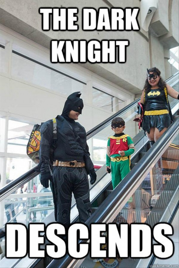 "Batman on an escalator: ""The Dark Knight Descends."""