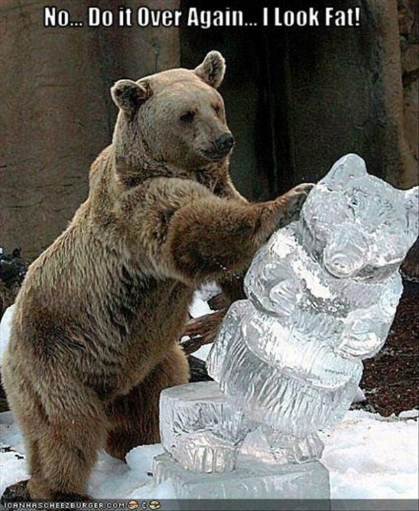 "Bear knocks over ice sculpture of himself saying, ""No, do it over again. I look fat!"""