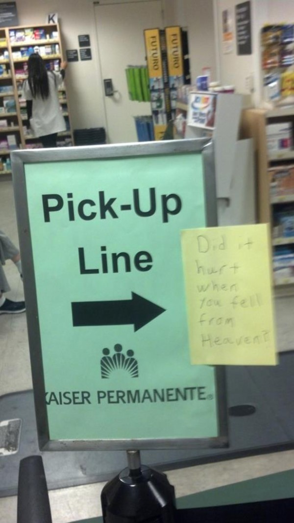 Sign for location of pickup line points to sign with actual pickup line on it.
