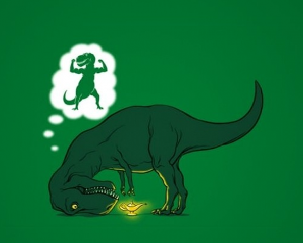 If only the T-Rex could reach the lamp, he could summon a genie to give him longer arms.