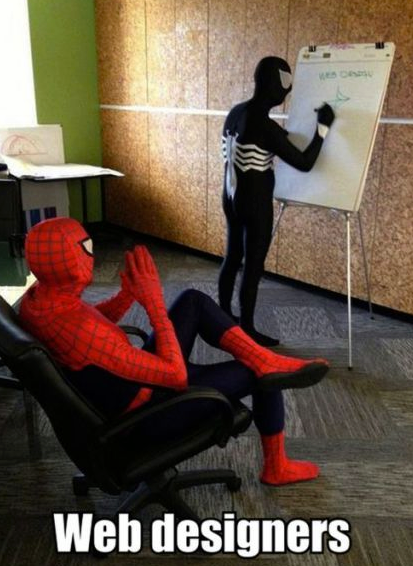 Spiderman and Venom discuss web design.